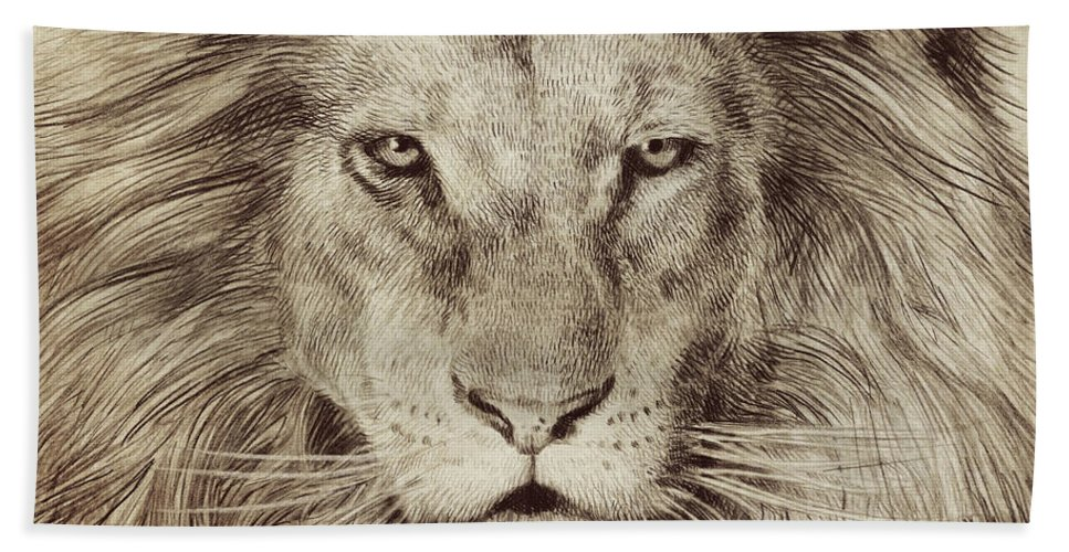 Lion Bath Towel featuring the drawing Leo by Eric Fan