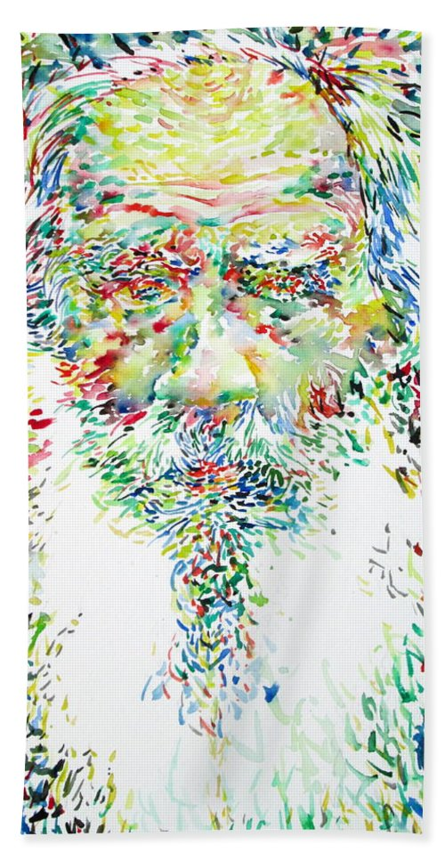 Leo Hand Towel featuring the painting Leo Tolstoy Watercolor Portrait.1 by Fabrizio Cassetta