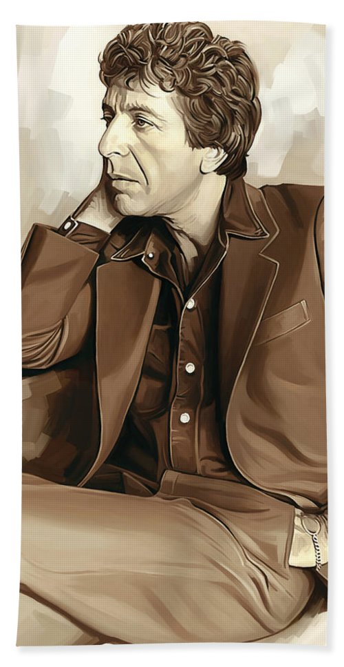 Leonard Cohen Paintings Hand Towel featuring the painting Leonard Cohen Artwork 2 by Sheraz A