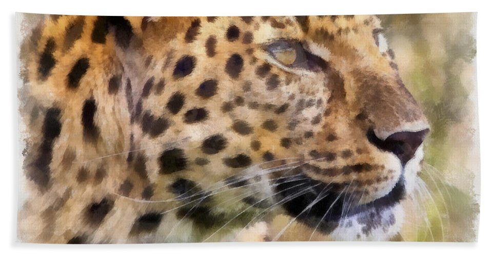 Aquarell Hand Towel featuring the photograph Leopard 7 by Ingrid Smith-Johnsen