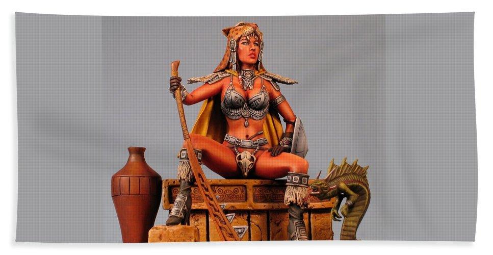 Clyde Caldwell Bath Sheet featuring the sculpture Leopard And Serpent Close Up by Janine Bennett
