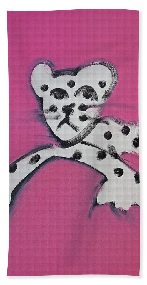 Leopard Hand Towel featuring the painting Leopard by Charles Stuart