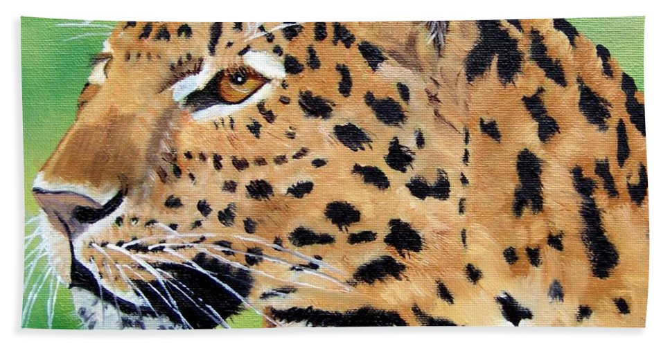 Leopard Hand Towel featuring the painting Leopard by Debbie LaFrance