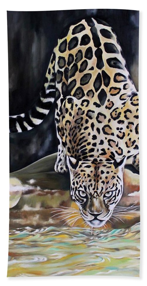 Animals Hand Towel featuring the painting Leopard N.2 by Rebecca Tecla