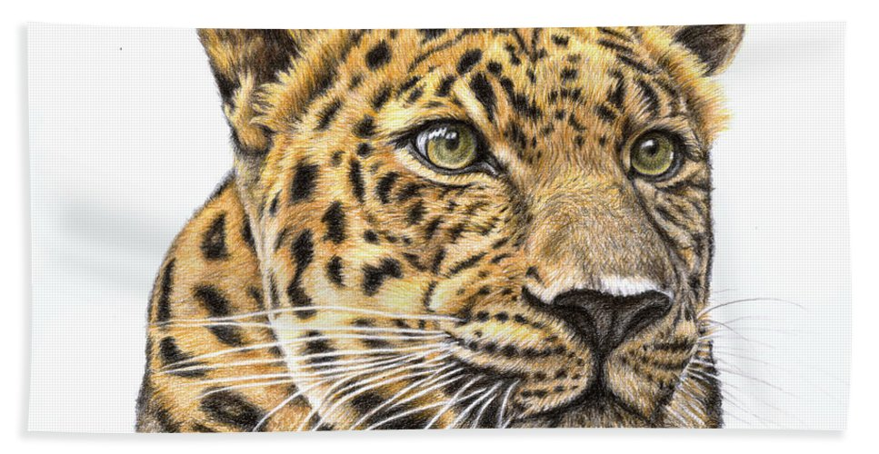 Leopard Hand Towel featuring the drawing Leopard by Nicole Zeug