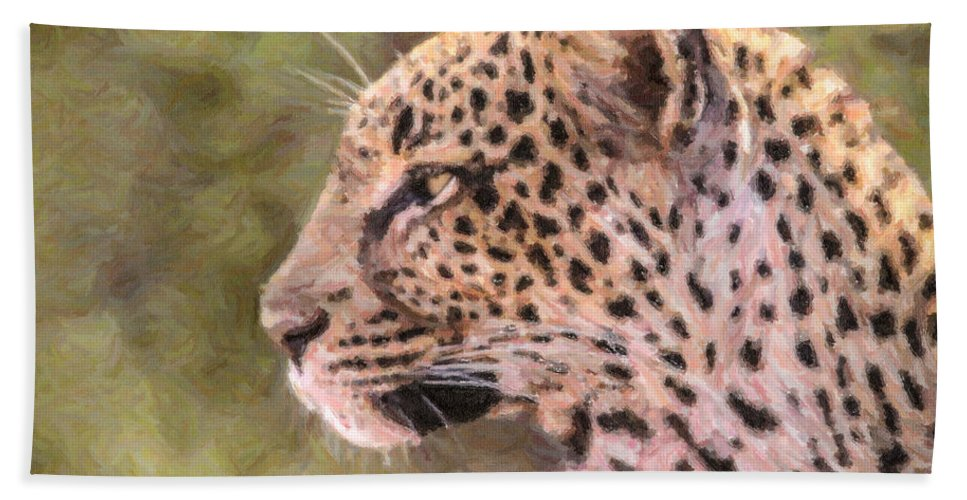 Leopard Hand Towel featuring the digital art Leopard Portrait by Liz Leyden