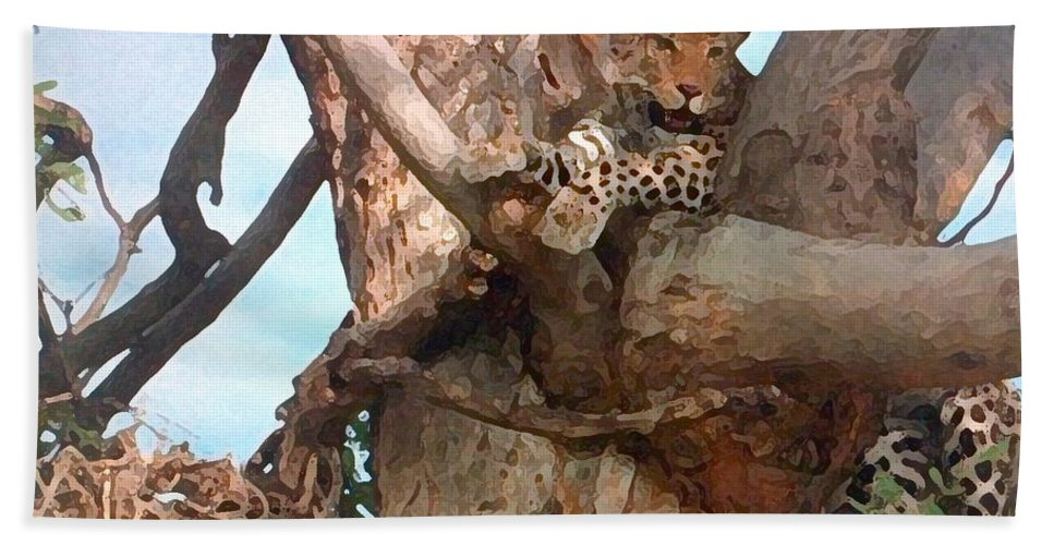 Africa Bath Sheet featuring the painting Leopard Up A Tree by George Pedro