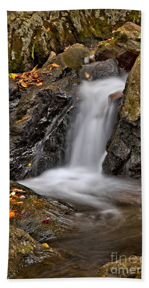 Fall Bath Sheet featuring the photograph Lepetit Waterfall by Susan Candelario