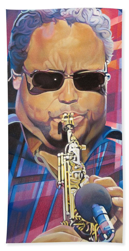 Leroi Moore Hand Towel featuring the drawing Leroi Moore And 2007 Lights by Joshua Morton