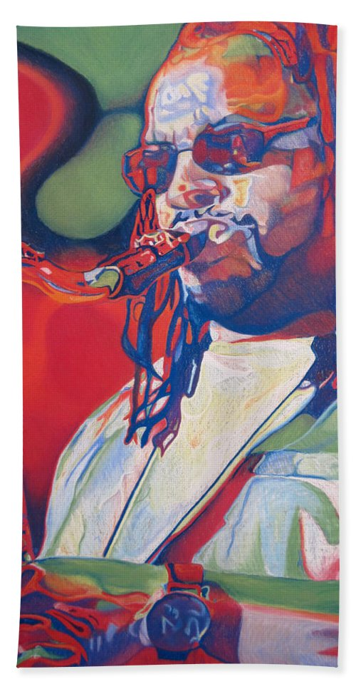 Leroi Moore Bath Sheet featuring the drawing Leroi Moore Colorful Full Band Series by Joshua Morton