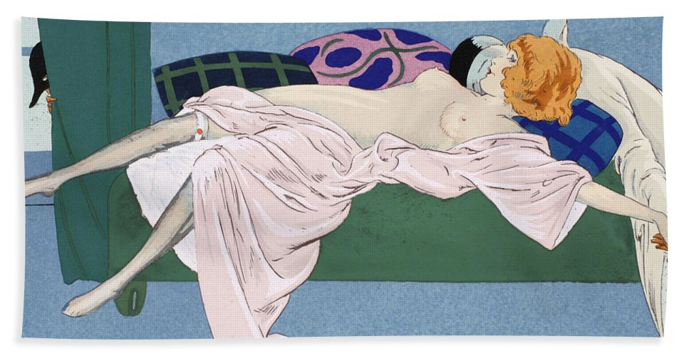 Nude Hand Towel featuring the painting Les Cinq Sens by Ettore Tito