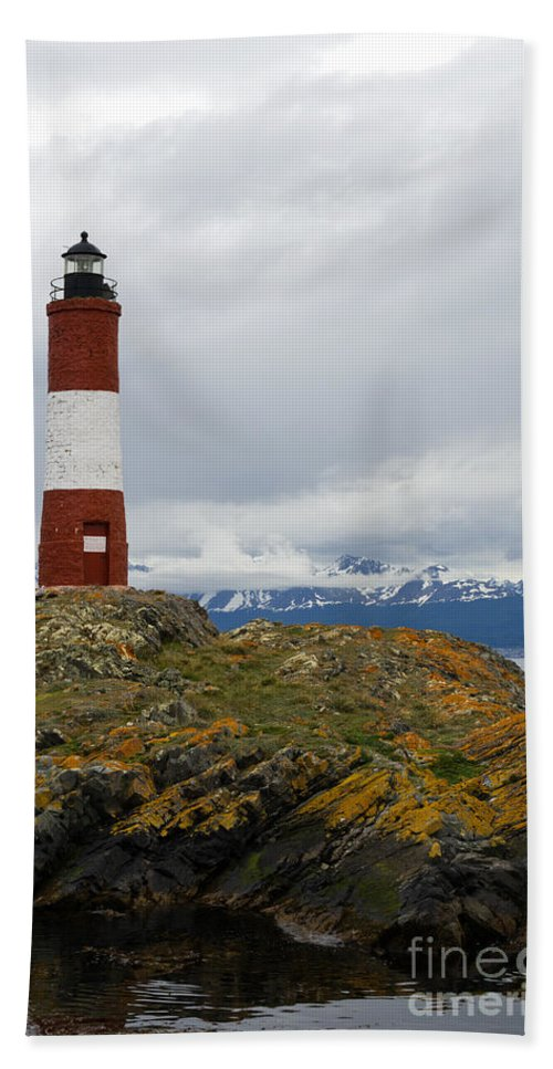 Les Eclaireurs Hand Towel featuring the photograph Les Eclaireurs Lighthouse Southern Patagonia by Ralf Broskvar