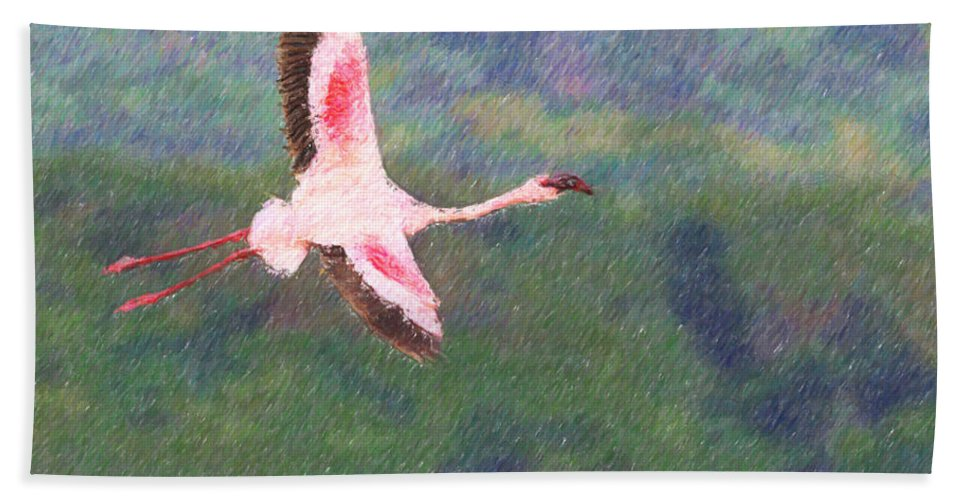 Lake Nakuru Np Hand Towel featuring the digital art Lesser Flamingo Phoenicopterus Minor Flying by Liz Leyden
