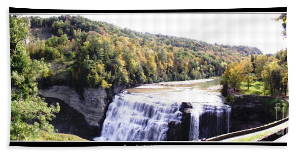 Letchworth State Park Hand Towel featuring the photograph Letchworth State Park Middle Falls Panorama by Rose Santuci-Sofranko