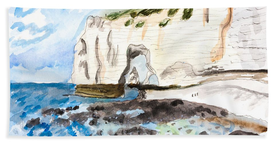 Etretat Hand Towel featuring the painting L'etretat by Pati Photography