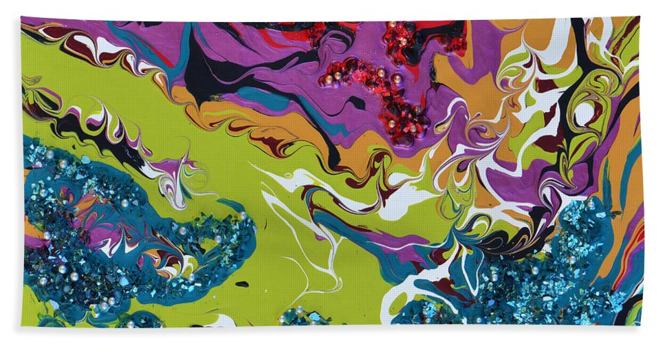 Modern Bath Sheet featuring the painting Let's Get Jiggy by Donna Blackhall