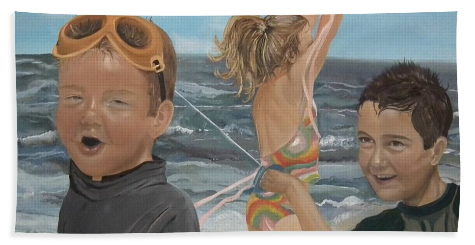 Portrait Bath Sheet featuring the painting Beach - Children Playing - Kite by Jan Dappen