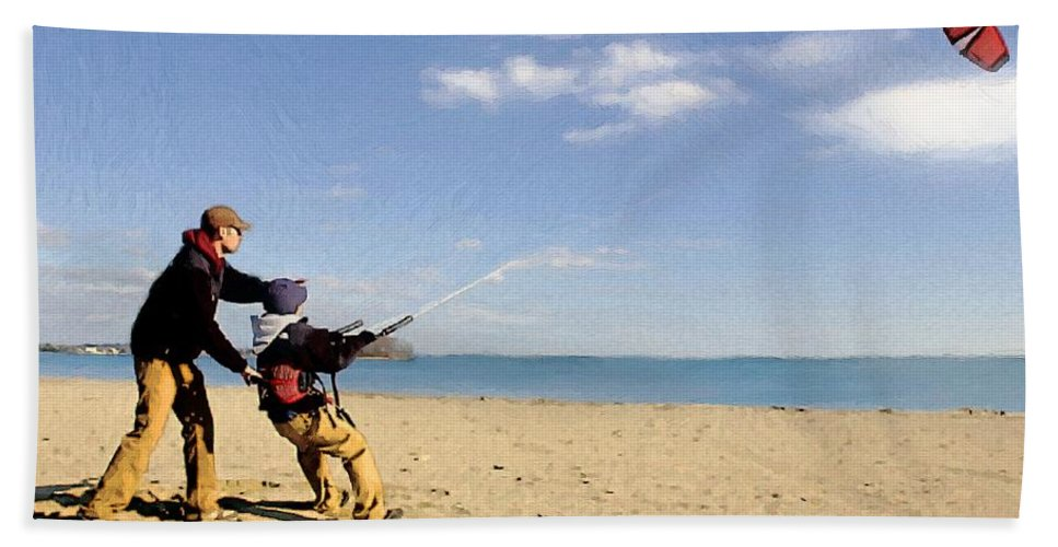 People Bath Sheet featuring the painting Let's Go Fly A Kite by RC DeWinter
