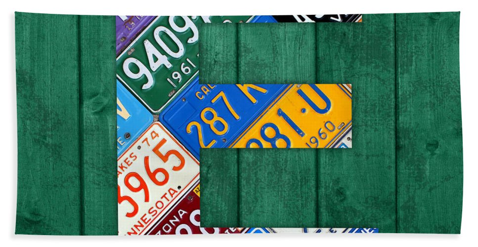 Letter Bath Sheet featuring the mixed media Letter E Alphabet Vintage License Plate Art by Design Turnpike