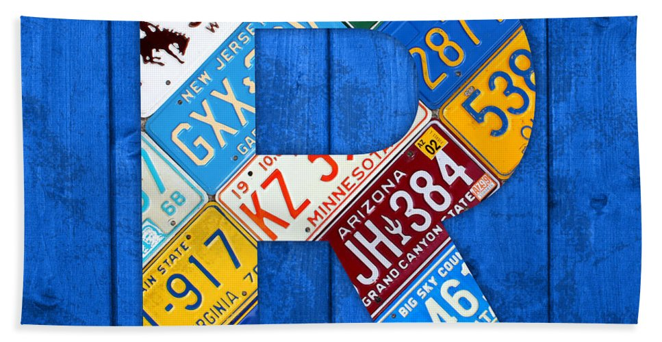 Letter Bath Sheet featuring the mixed media Letter R Alphabet Vintage License Plate Art by Design Turnpike