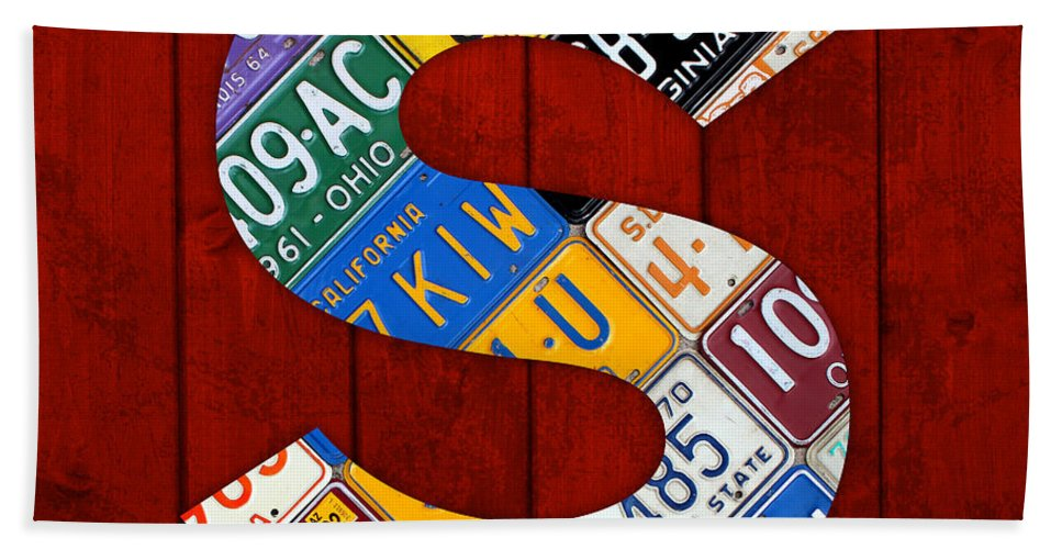 Letter Bath Sheet featuring the mixed media Letter S Alphabet Vintage License Plate Art by Design Turnpike