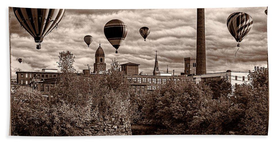 Hot Air Balloon Bath Sheet featuring the photograph Lewiston Maine Hot Air Balloons by Bob Orsillo