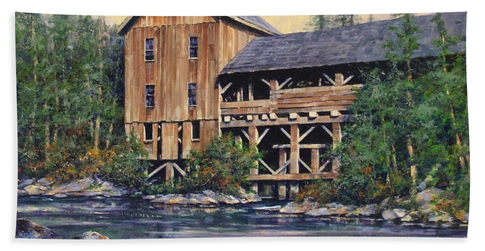 Grist Mills Bath Towel featuring the painting Lewisville Grist Mill Afternoon by Jim Gola
