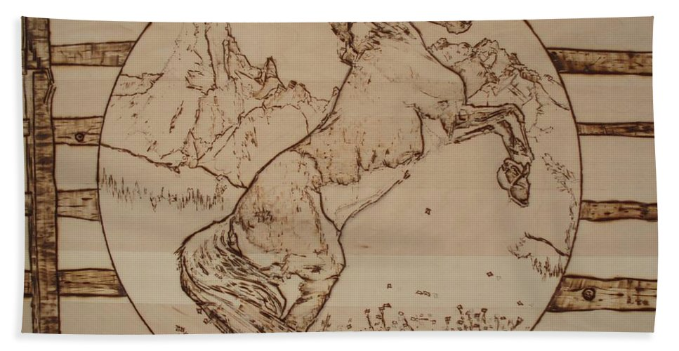 Pyrography Bath Towel featuring the pyrography Wild Horse by Sean Connolly