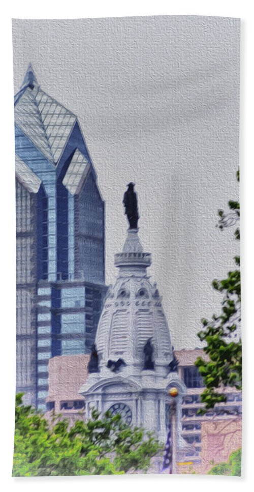 Liberty Hand Towel featuring the photograph Liberty Place And City Hall by Bill Cannon