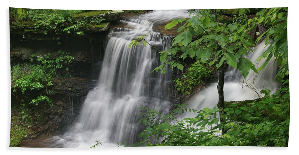 Tim Fitzharris Hand Towel featuring the photograph Lichen Falls Ozark National Forest by Tim Fitzharris