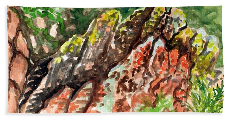 Watercolor Rocks Bath Towel featuring the painting Lichen Rocks by Ashley Kujan