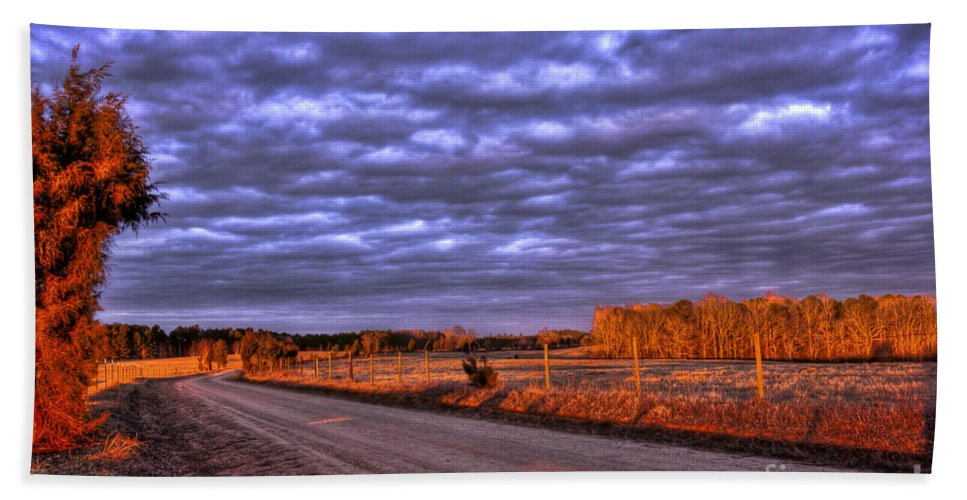 Sunrise Landscape Hand Towel featuring the photograph Lick Skillet Road by Reid Callaway