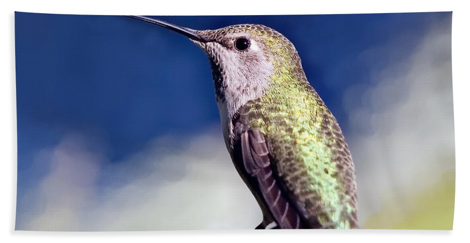 Hummingbird Bath Sheet featuring the mixed media Lick Your Lips by Angela Stanton