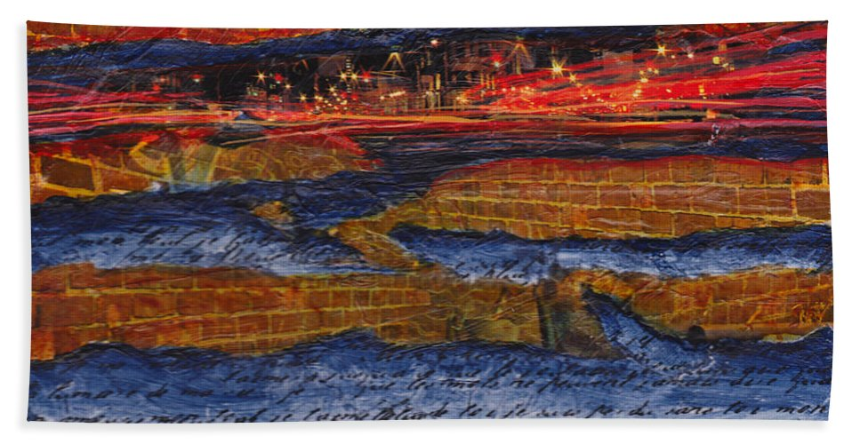 Life Hand Towel featuring the painting Life In The Fast Lane by Cindy Johnston