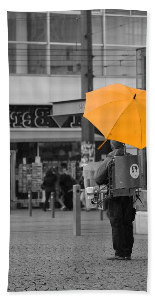 Berlin Alexanderplatz East Gdr Yellow Umbrella Rain Rainting Germany Capital Hand Towel featuring the photograph Life Is Beautiful by Steve K