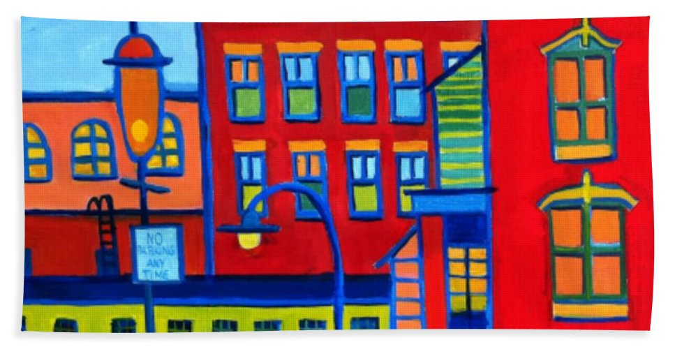 Landscape Hand Towel featuring the painting Life Revolving in the City Lowell MA by Debra Bretton Robinson