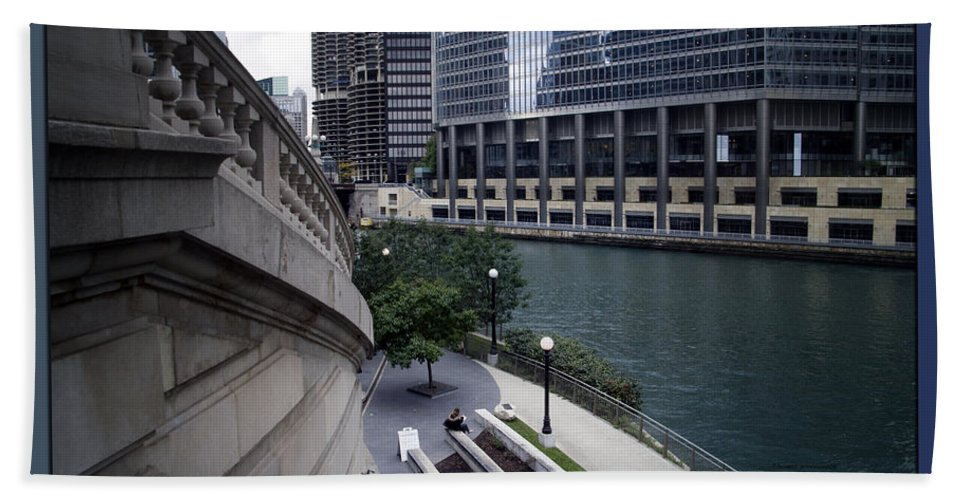 Chicago Bath Towel featuring the photograph Life Will Flash Before Your Eyes Blue Background by Thomas Woolworth