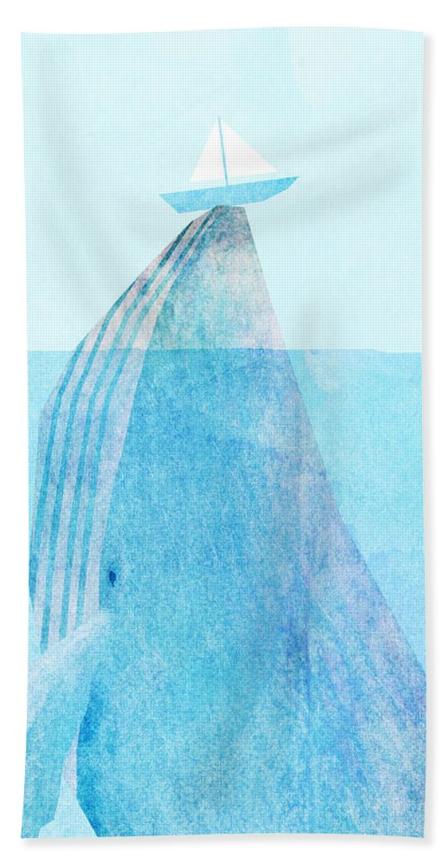 Whale Hand Towel featuring the drawing Lift by Eric Fan