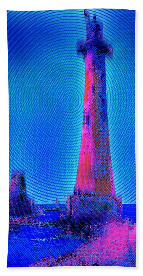 Lighthouse Hand Towel featuring the painting Light House At Sunrise 2 by Tony Rubino