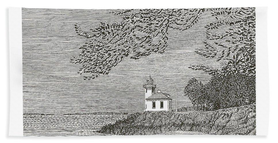 San Juan Islands Lime Point Lighthouse Bath Towel featuring the drawing Light House On San Juan Island Lime Point Lighthouse by Jack Pumphrey