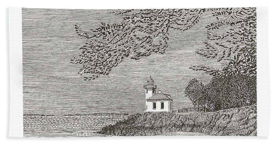 San Juan Islands Lime Point Lighthouse Bath Sheet featuring the drawing Light House On San Juan Island Lime Point Lighthouse by Jack Pumphrey