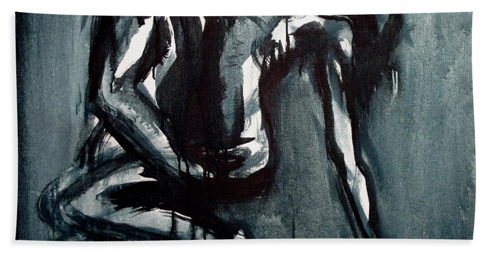 Beautiful Hand Towel featuring the painting Light In The Darkness by Jarmo Korhonen aka Jarko