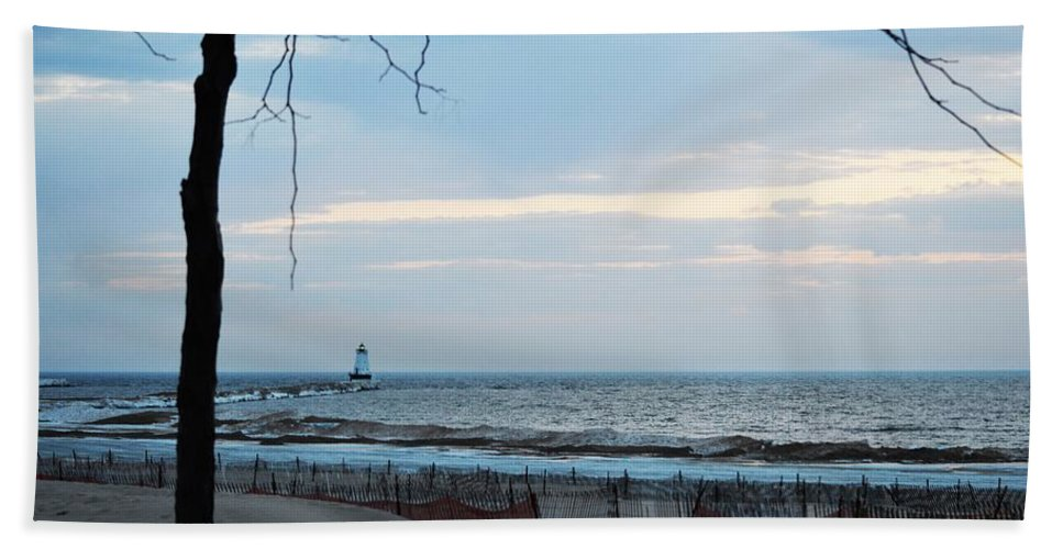 Lake Michigan Bath Sheet featuring the photograph Light Is On by Linda Kerkau
