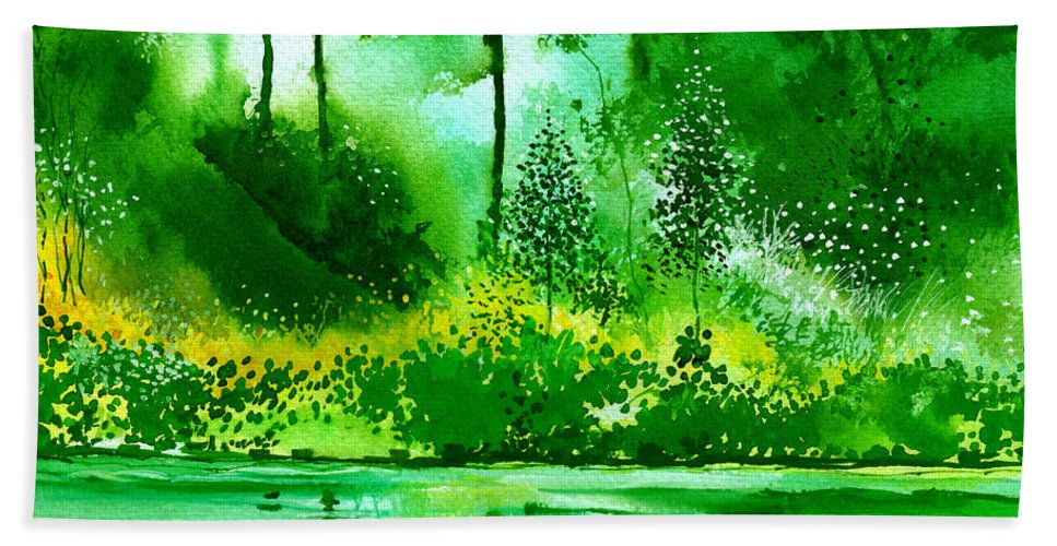 Nature Hand Towel featuring the painting Light N Greens R by Anil Nene