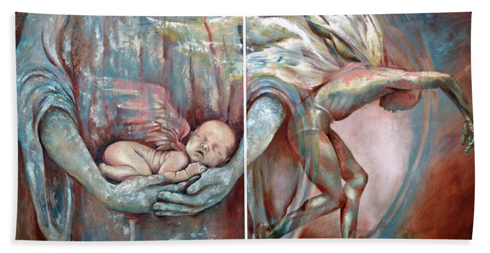 Angel Bath Sheet featuring the painting Light Of A Mortal Life by Karina Llergo