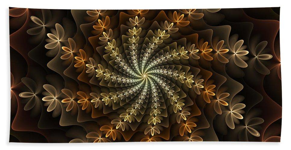 Abstract Hand Towel featuring the digital art Light Spiral by Gabiw Art