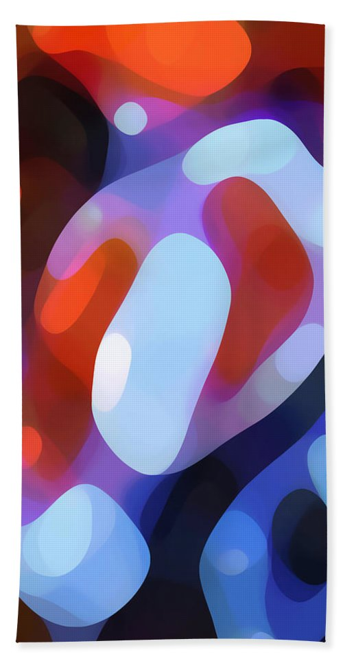 Abstract Hand Towel featuring the painting Light Through Fall Leaves by Amy Vangsgard