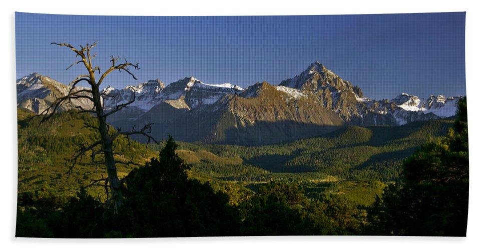 San Juan Mountains Bath Sheet featuring the photograph Light Will Change by Jeremy Rhoades