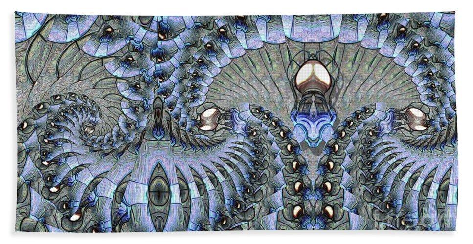 Abstract Bath Sheet featuring the digital art Lighted Cavern by Ron Bissett