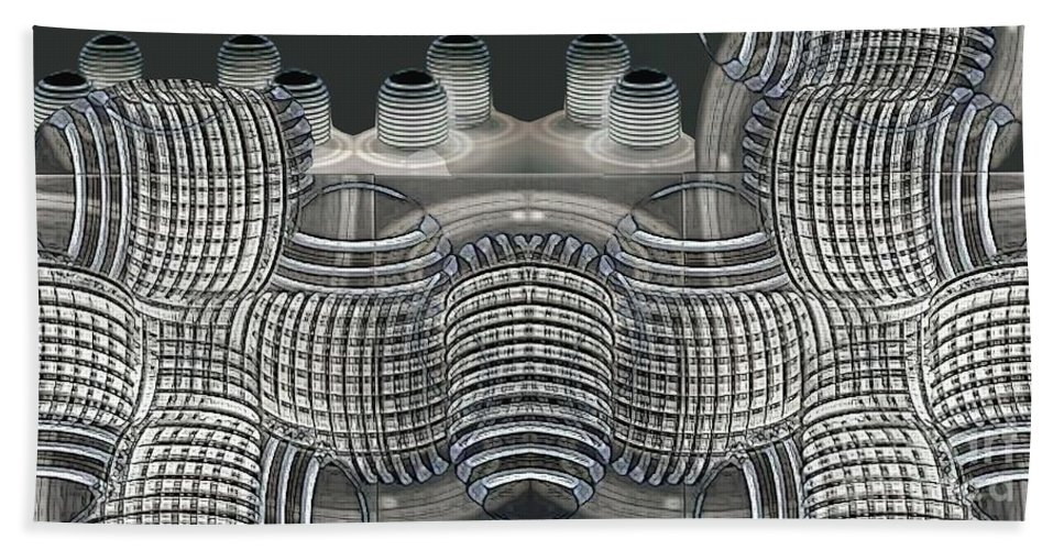 Abstract Hand Towel featuring the digital art Lighted Coils by Ron Bissett